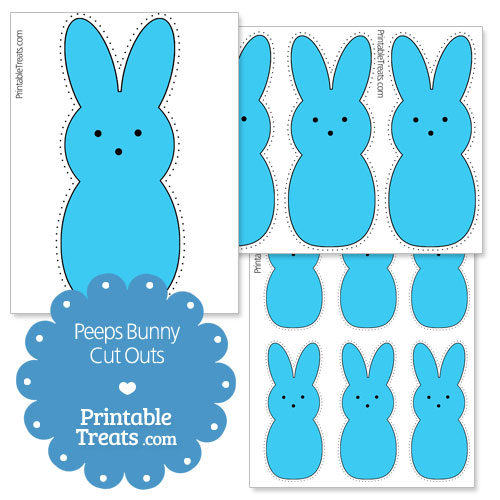 printable blue peeps bunny cut outs
