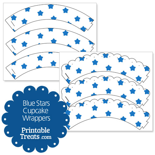 printable blue stars cupcake wrappers