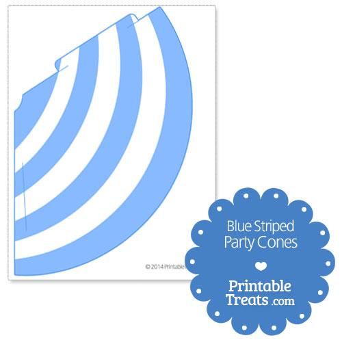 printable blue striped party cones