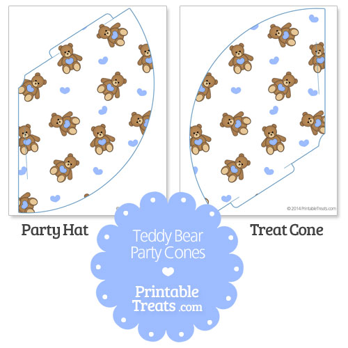 printable blue teddy bear party cones