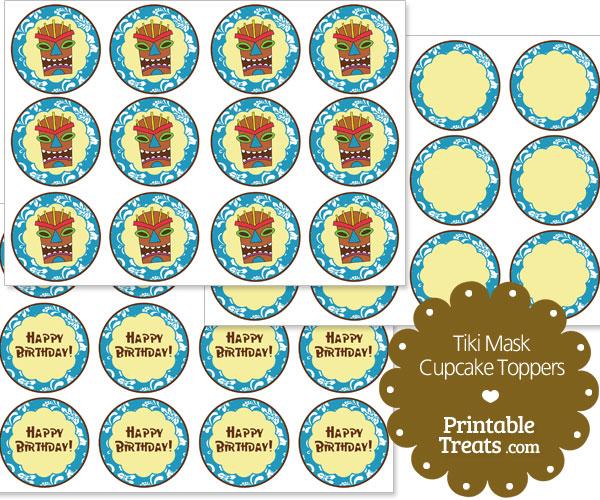 printable blue tiki mask cupcake toppers