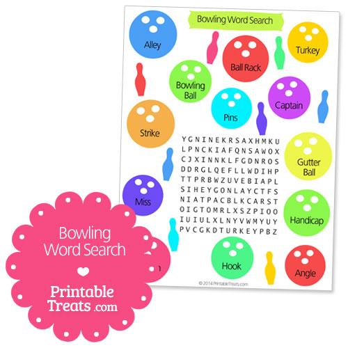 printable bowling word search