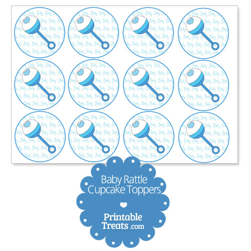 printable boy baby rattle cupcake toppers