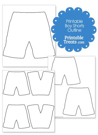 Printable Boy Shorts Shape Template from PrintableTreats.com