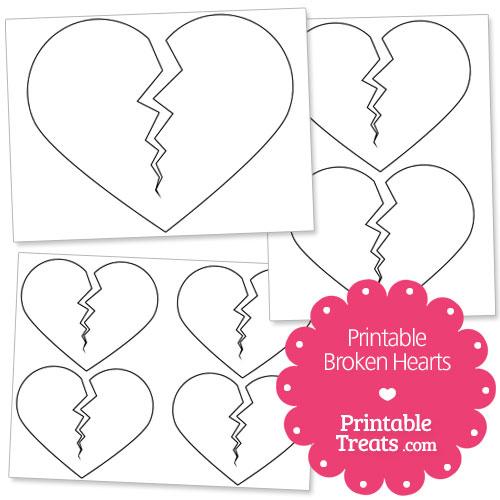 printable broken hearts