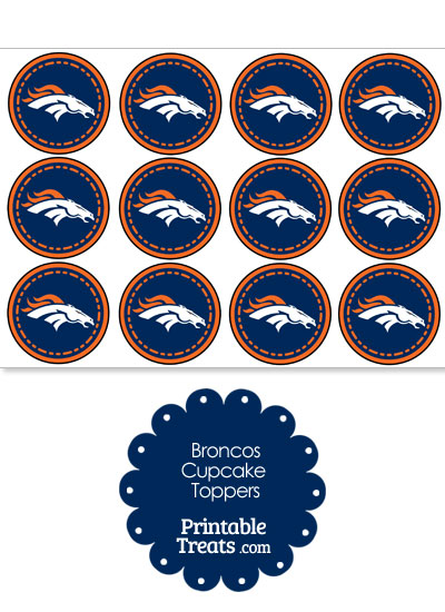 Printable Broncos Logo Cupcake Toppers from PrintableTreats.com