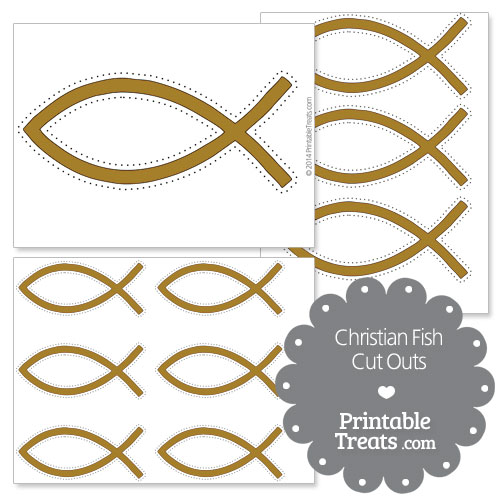 printable brown Christian fish cut outs