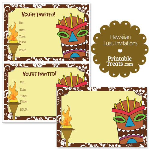 printable brown Hawaiian luau invitations
