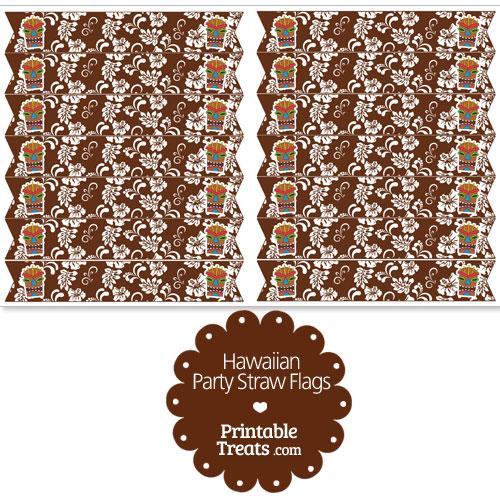 printable brown hawaiian straw flags