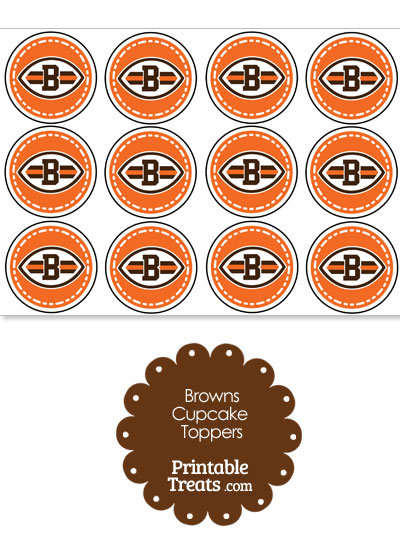 Printable Browns Logo Cupcake Toppers from PrintableTreats.com
