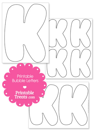 Printable Bubble Letter K Template from PrintableTreats.com