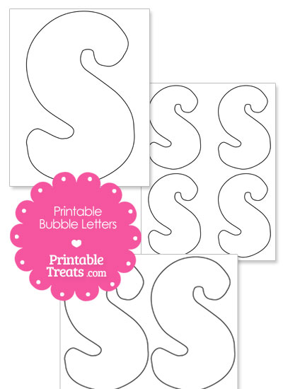 Printable Bubble Letter S Template from PrintableTreats.com