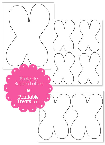 Printable Bubble Letter X Template from PrintableTreats.com