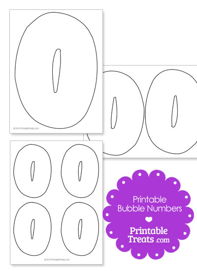 Printable Bubble Number 0 from PrintableTreats.com