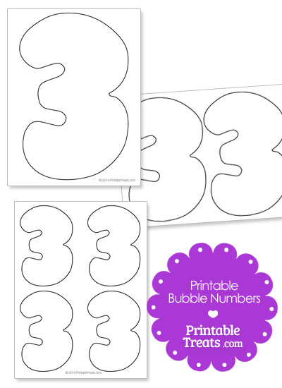 Printable Bubble Number 3 from PrintableTreats.com