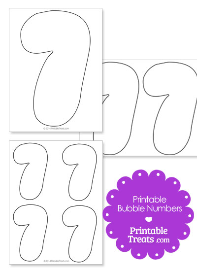 Printable Bubble Number 7 from PrintableTreats.com