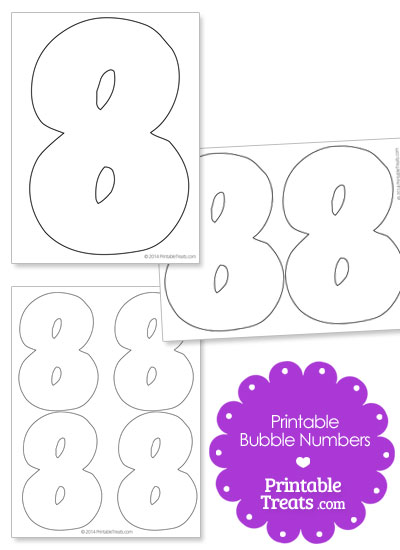 Printable Bubble Number 8 from PrintableTreats.com