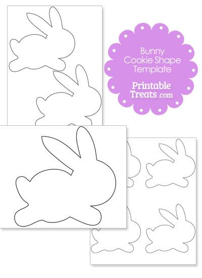 Printable Bunny Cookie Shape Template from PrintableTreats.com