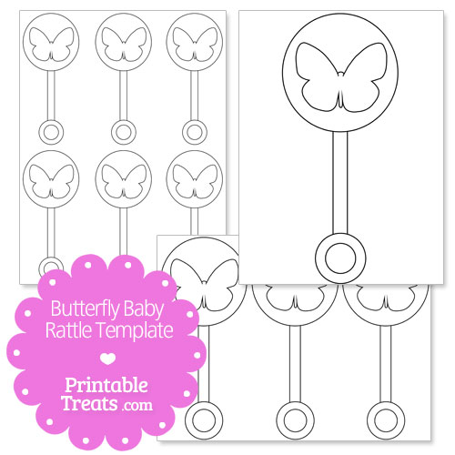 printable butterfly baby rattle template