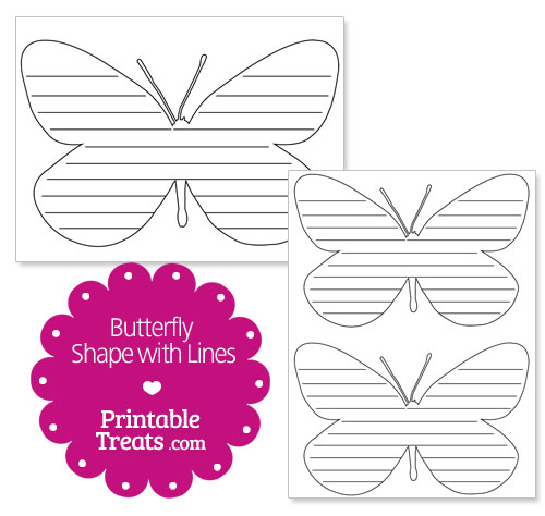 printable butterfly shape with lines