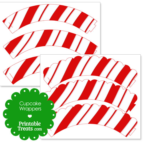 printable candy cane pattern cupcake wrappers