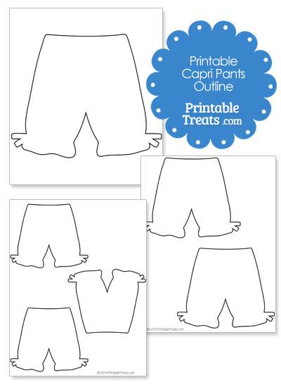 Printable Capri Pants Shape Template from PrintableTreats.com