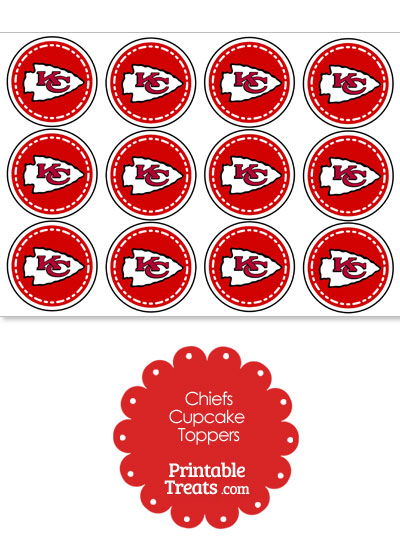 Printable Chiefs Logo Cupcake Toppers from PrintableTreats.com