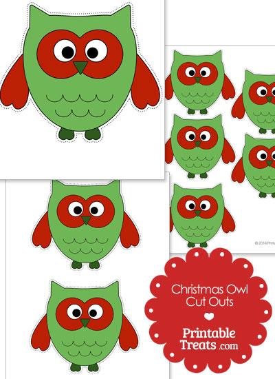 Printable Christmas Owl Cut Outs from PrintableTreats.com