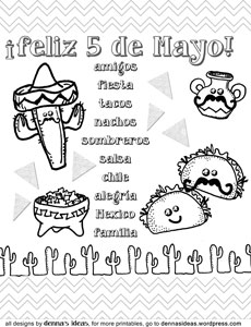11 coloring pictures cinco de mayo - Print Color Craft | 300x230