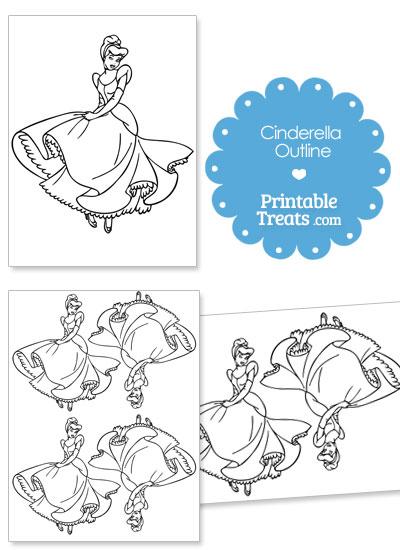 Printable Cinderella Outline from PrintableTreats.com