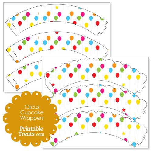 printable circus balloons cupcake wrappers
