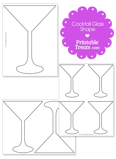 Printable Cocktail Glass Outline from PrintableTreats.com