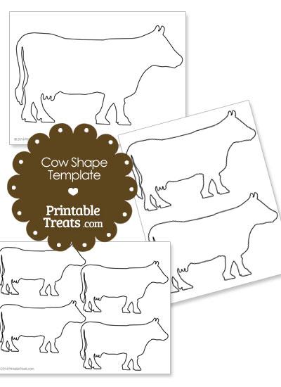 Printable Cow Shape Template from PrintableTreats.com