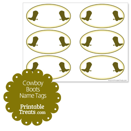 printable cowboy boots name tags