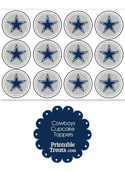 Printable Cowboys Logo Cupcake Toppers from PrintableTreats.com