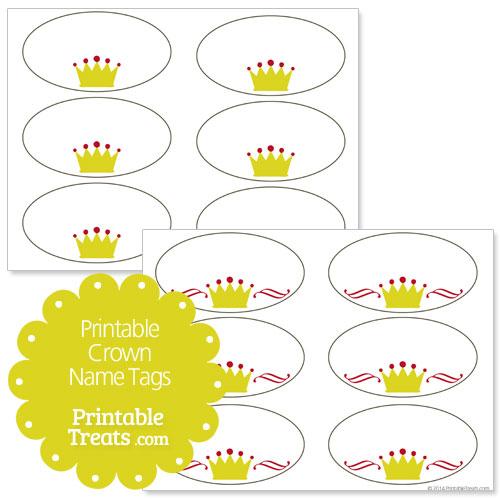 printable crown name tags