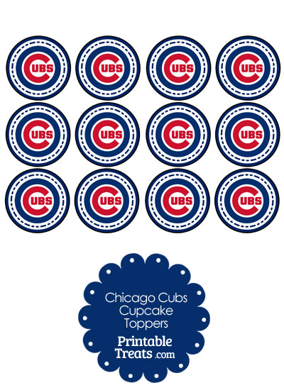 Printable Cubs Logo Cupcake Toppers from PrintableTreats.com
