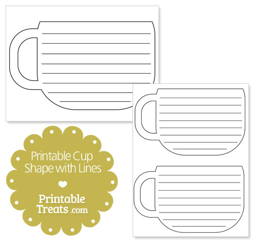 printable cup shape with lines