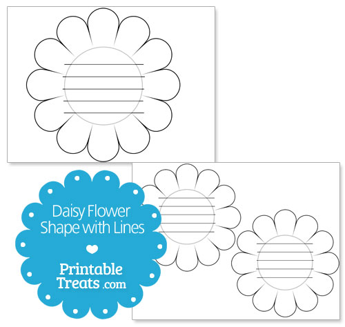 printable daisy shape with lines