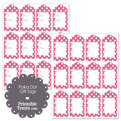 printable dark pink polka dot gift tags