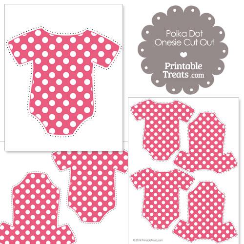 printable dark pink polka dot onesie cut outs
