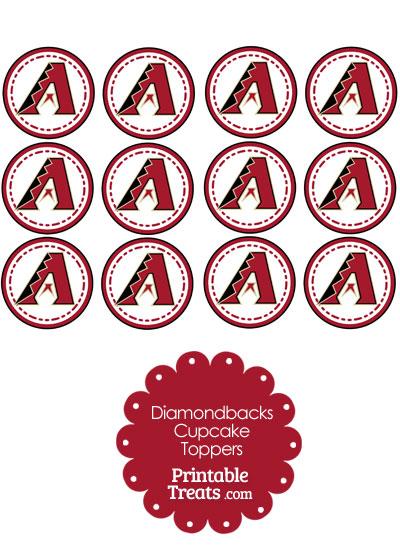 Printable Diamondbacks Logo Cupcake Toppers from PrintableTreats.com