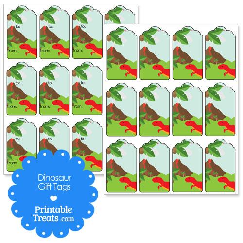 printable dinosaur gift tags