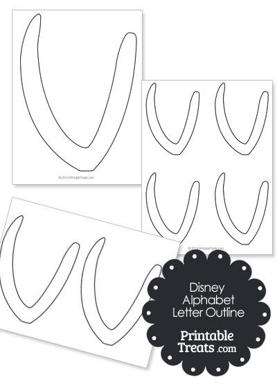Printable Disney Letter V Outline from PrintableTreats.com