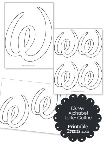 Printable Disney Letter W Outline from PrintableTreats.com