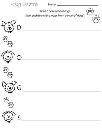printable dog acrostic poem