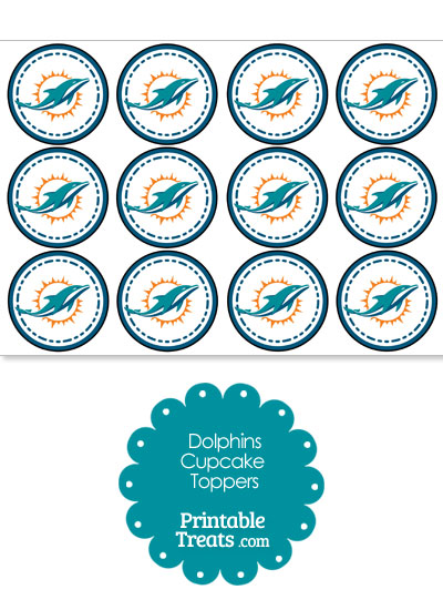 Printable Dolphins Logo Cupcake Toppers from PrintableTreats.com
