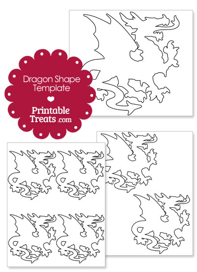 Printable Dragon Shape Template from PrintableTreats.com
