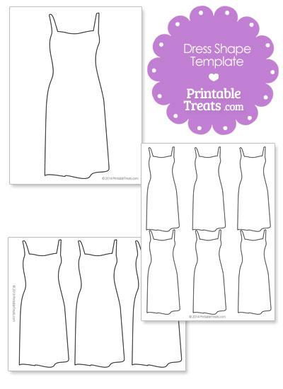 Printable Dress Shape Template from PrintableTreats.com