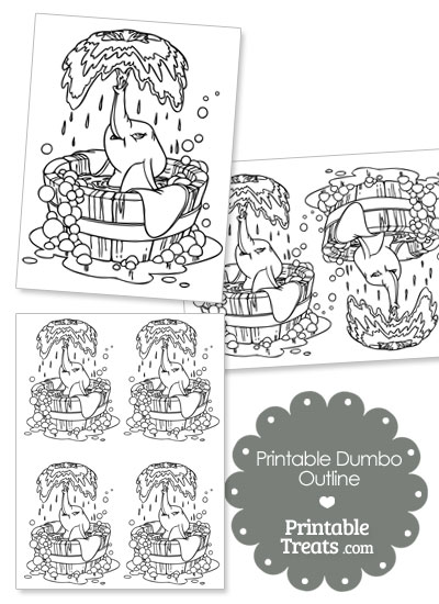 Printable Dumbo in a Bubble Bath Outline from PrintableTreats.com